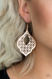 Totally Taj Mahal - rose gold - Paparazzi earrings
