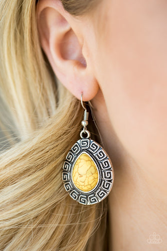 Tribal Tango - yellow - Paparazzi earrings