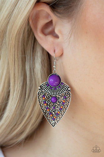 Tribal Territory-purple-Paparazzi earrings