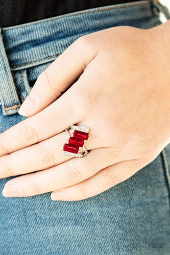Triple Razzle-red-Paparazzi ring