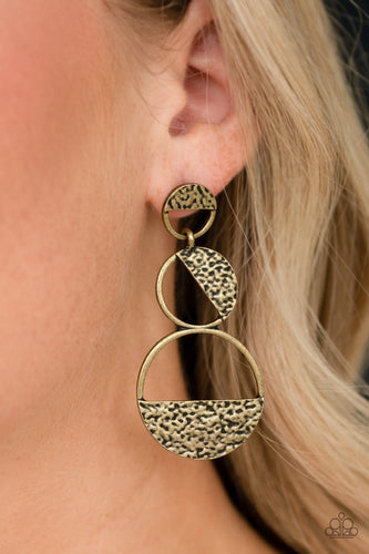 Triple Trifecta-brass-Paparazzi earrings