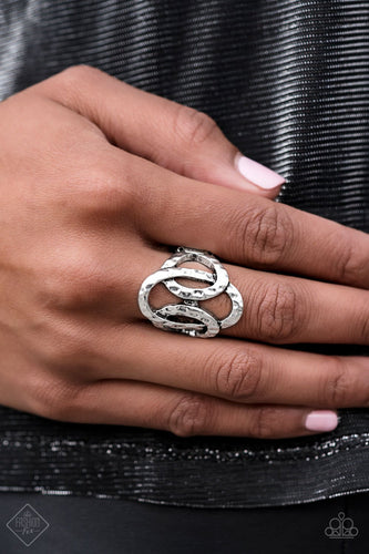 Triple the Texture - silver - Paparazzi ring