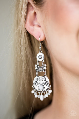 Tropic Tribe-white-Paparazzi earrings