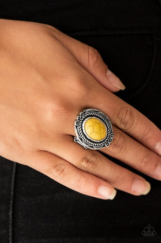 Tumblin Tumbleweeds - yellow - Paparazzi ring