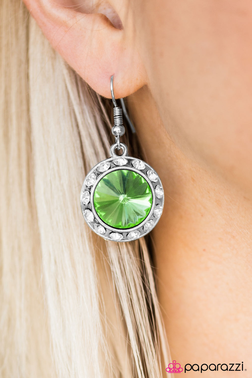Turn On The Sparkle - Green - Paparazzi earrings
