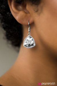 Turn That Frown Into A Crown - White - Paparazzi earrings