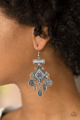 Unexplored Lands - silver - Paparazzi earrings