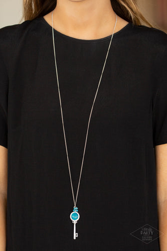 Unlock Every Door - blue - Paparazzi necklace