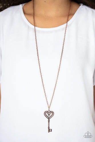 Unlock My Heart-copper-Paparazzi necklace