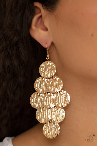 Uptown Edge-gold-Paparazzi earrings