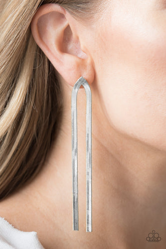 Very Viper - silver - Paparazzi earrings
