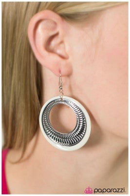 Waiting for Forever - White - Paparazzi earrings