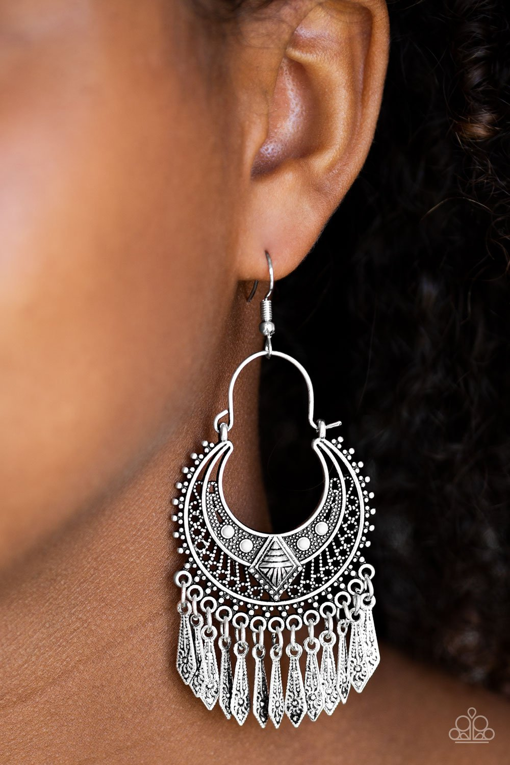 Walk on the Wildside - silver - Paparazzi earrings