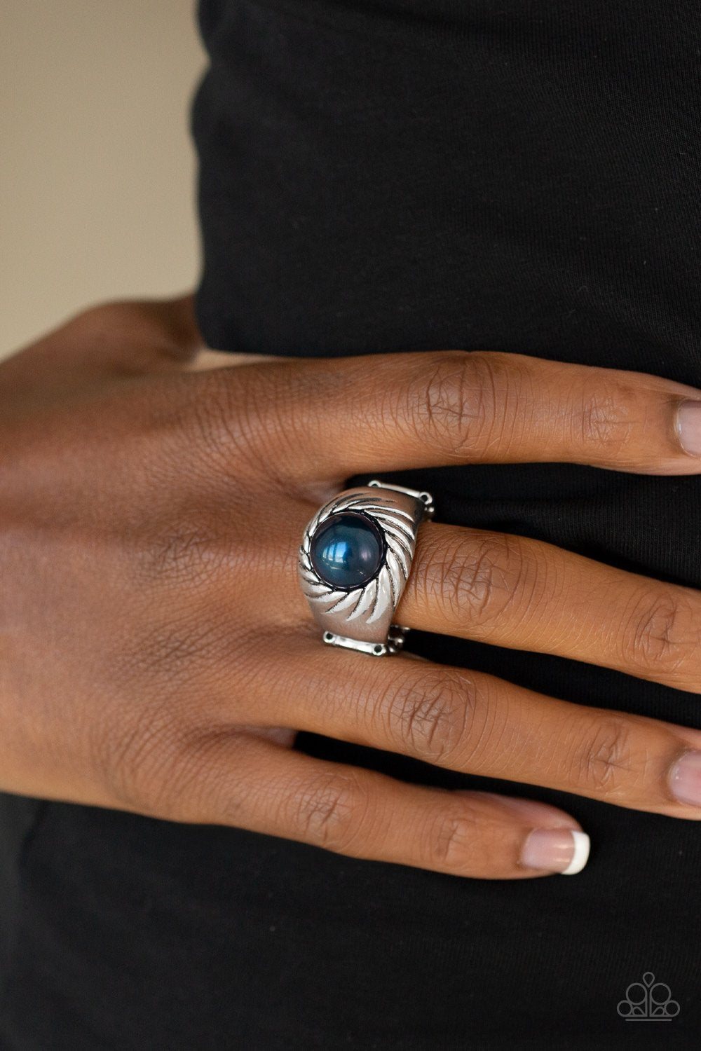 Wall Street Whimsical-blue-Paparazzi ring