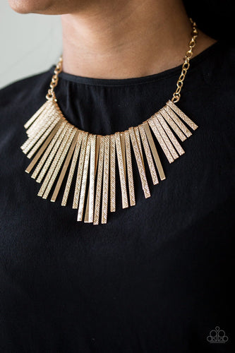 Welcome to the Pack - gold - Paparazzi necklace