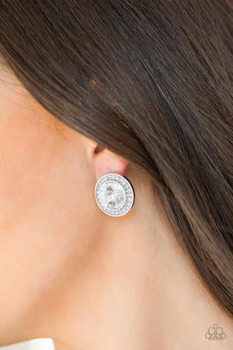 What Should I BLING-white-Paparazzi earrings