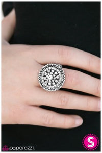 Wheel of Fortune - White - Paparazzi ring