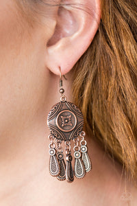 Whimsical Wind Chimes - copper - Paparazzi earrings