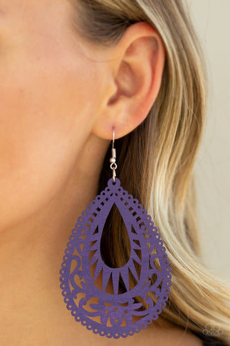 Zesty Zen-purple-Paparazzi earrings