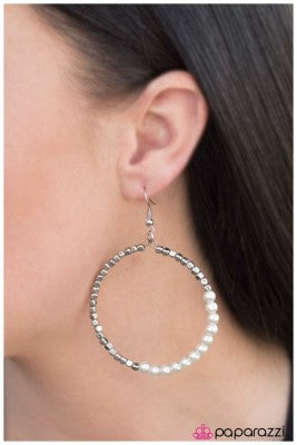 Now You're Talking - white - Paparazzi earrings