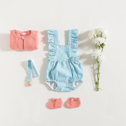 romper-turquoise-vichy-knitted-cardigan-flamingo-grace-baby-and-child-newborn