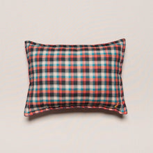 Load image into Gallery viewer, deco-cushion-teal-plaid-kids-bedroom-decor