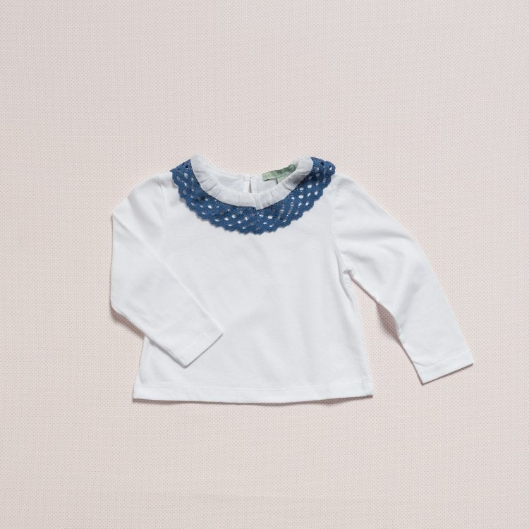 3 T-SHIRT / BLUE LACE COLLAR