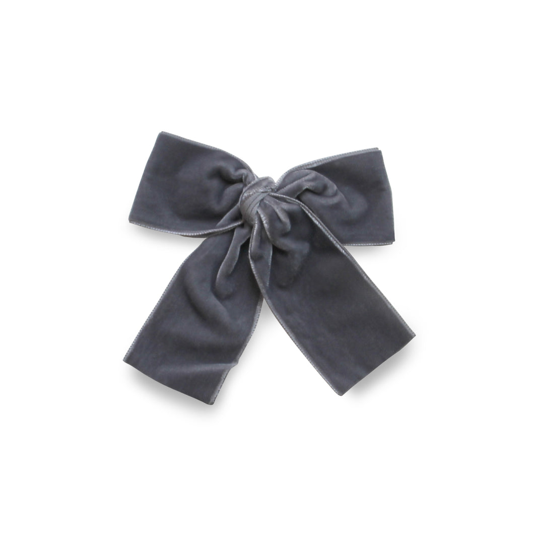 LEMON HAIR LOVERS / DARK GREY VELVET BOW M