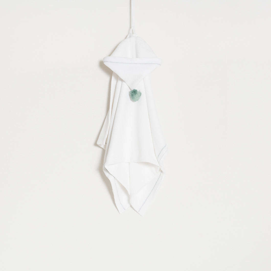 bath-towel-white-with-green-water-pompon-grace-baby-and-child-newborn-front