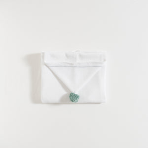bath-towel-white-with-green-water-pompon-grace-baby-and-child-newborn-folded