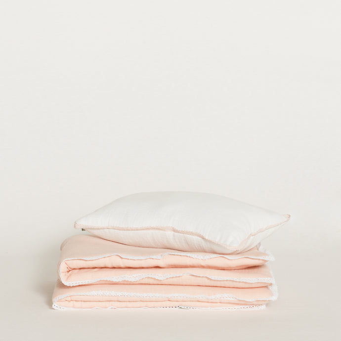 BED SET /  WHITE & PINK