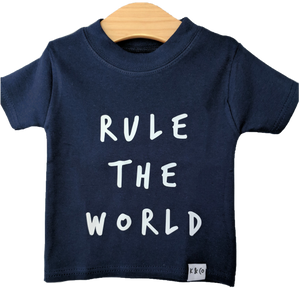 Navy & White Rule the World Tee