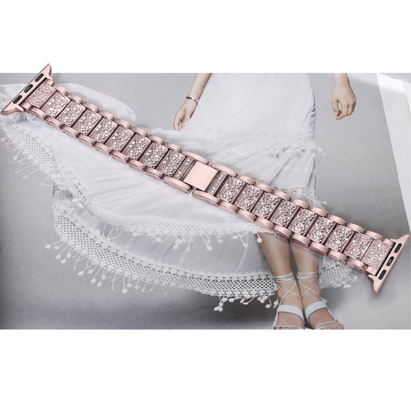 Diamond studded Apple Watch Band with a stainless steel strap - WatchBand Co