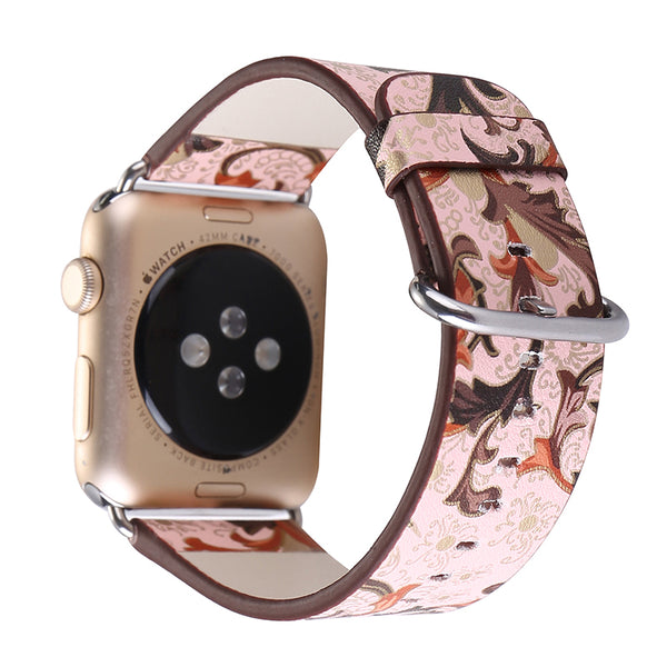 Floral pattern leather watch strap - Multiple colors & patterns