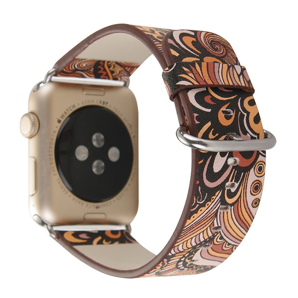 Vintage floral design prints leather strap - Multiple patterns and colors - WatchBand Co