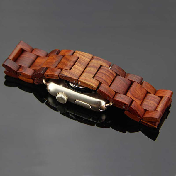 Wooden watch strap with concealed butterfly buckle - Multiple colors