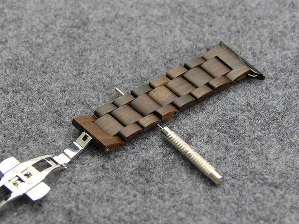Wooden Apple Watch Band with concealed butterfly buckle - Multiple colors - WatchBand Co