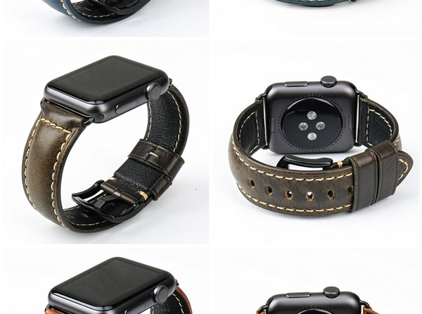 Oil Wax Leather Apple Watch Strap - Multiple colors - WatchBand Co