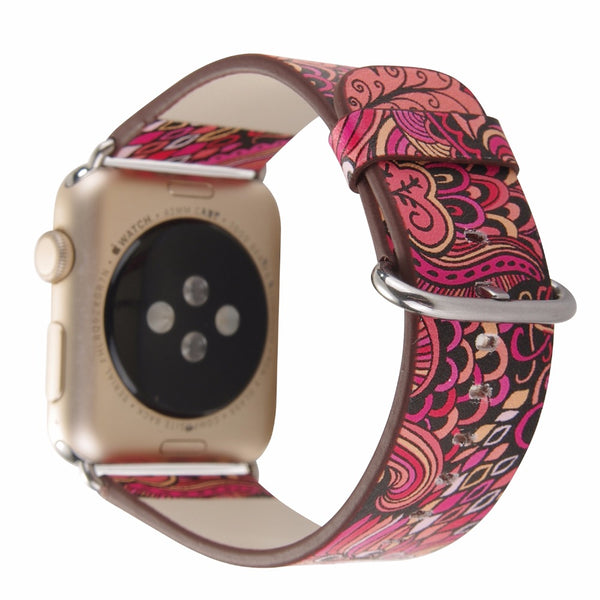 Floral pattern leather watch strap - Multiple colors & patterns - WatchBand Co