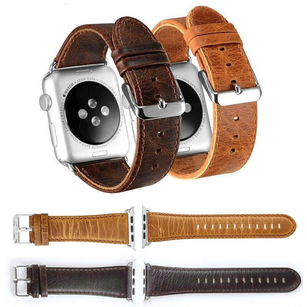 Retro Brown Genuine Leather Apple Watch Strap with Metal buckle - WatchBand Co