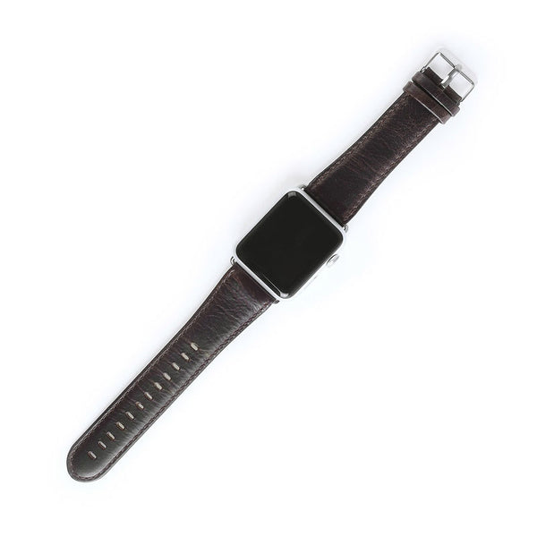 Retro Brown Genuine Leather watch strap with Metal buckle