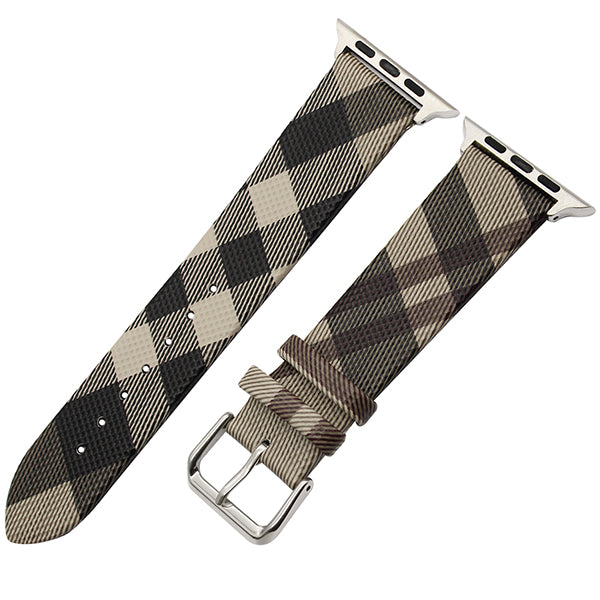 Genuine leather watch band with grid design pattern - Multiple patterns