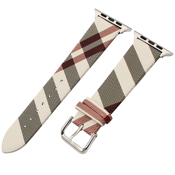 Genuine Leather Apple Watch Band with grid design pattern - Multiple patterns - WatchBand Co