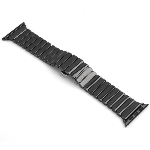 Ceramic link watch band with butterfly buckle clasp - Multiple colors