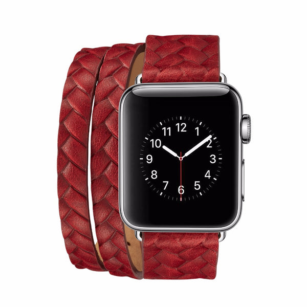 Leather printed woven double tour watch strap - Multiple colors - WatchBand Co