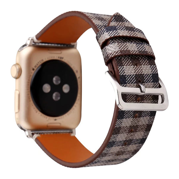 Classic leather watch band with design patterns - Multiple colors/patterns
