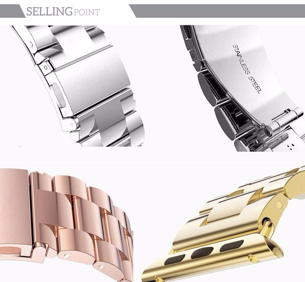 Stainless Steel Apple Watch Strap with buckle clasp - Multiple colors - WatchBand Co