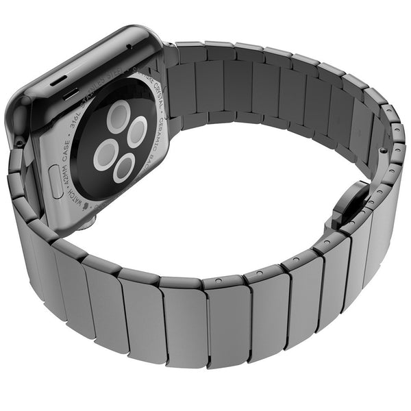 Stainless Steel Link Apple Watch Band with butterfly clasp - Multiple colors - WatchBand Co