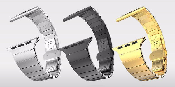 Stainless steel link watch band with butterfly clasp - Multiple colors