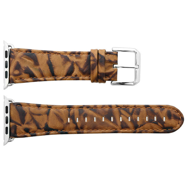 Leather strap with multiple patterns (incl. Leopard pattern) and textures - WatchBand Co